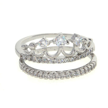 Dear Deer White Gold Plated Princess Crown 2 Piece Cubic Zirconia Ring