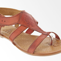 Women's Genuine Authentic Huaraches Mexican Sandals - Brown Leather Flowers