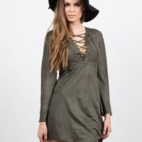 Lace Up and Suede Dress