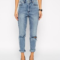 ASOS   ASOS Farleigh High Waist Slim Mom Jeans in Day Dreamer Vintage Wash with Busted Knees at ASOS