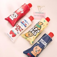 Funny Toothpaste PU Pencil Case with Pencil Sharpener