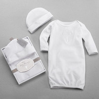 """Baby Aspen """"Baby Blessings"""" Baby Gown & Cap"""
