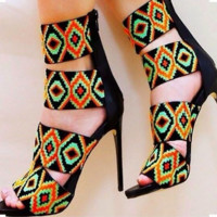 Fashion Women Summer Geometric Print  Interval Hollow High Heel Sandal
