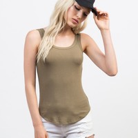Double Strapped Ribbed Tank
