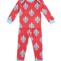 French Quarter Pajama Shirt & Pants, Pink/Blue, Size 2T-8,