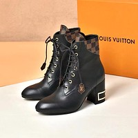 lv louis vuitton trending womens black leather side zip lace up ankle boots shoes high boots 197