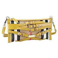 Burberry Small Bridle House Check Belted Clutch Yellow Tagre™