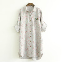 Floral Printing Squirrel Designed Button Down Shirt
