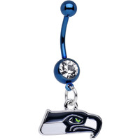 Officially Licensed NFL Clear Gem Seattle Seahawks Dangle Belly Ring
