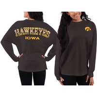 Iowa Hawkeyes Women's Aztec Sweeper Long Sleeve Oversized Top - Black