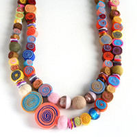 Rainbow felt necklace//Statement necklace//Boho jewelry//Long double necklace//Colourful necklace with felt spirals//Contemporary jewelry