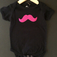 New Super Cute Baby Girls 24mo. Black & Hot Pink Glitter Mustache Cotton Onsie