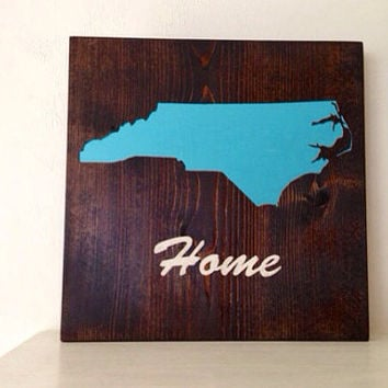 Customizable North Carolina Wood Sign, Stained and Hand Painted, moving gift, wedding gift, birthday present, graduation, home decor