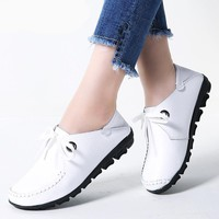 Women Flat Moccasin Lace Up Shoes