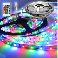 5M 300 LEDs SMD 3528 RGB LED Strip Light + 24 Key Mini Controller 12V (Size: 12V, Color: Multicolor)