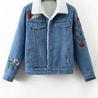 Faux Shearling Floral Embroidered Jean Coat
