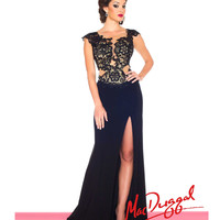 (PRE-ORDER) Mac Duggal 2014 Prom Dresses - Black Lace & Jersey A-Line Prom Gown