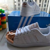 """Adidas Superstar"" Fashion Casual Women Gold Shell Head Plate Shoes Sneakers"