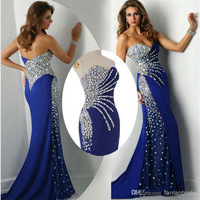 Abendkleider Sweetheart Mermaid Crystal Royal Blue Chiffon Long Evening Dresses Fashion Prom Dresses 2016