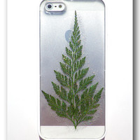 Handmade iPhone 5/5S case, Resin with Dried Fern, flower, Christmas tree