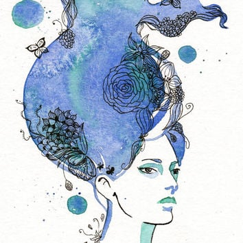 Original watercolor painting Fashion illustration Blue Haired Girl with butterflies and flowers