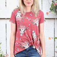 Get Twisted Bull Skull + Floral Crown Top {D. Rust}