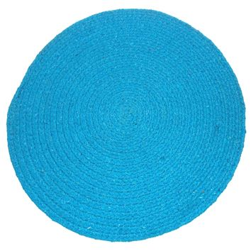 """4 Placemats Braided Blue Round 16"""" Kitchen Table Fabric Tapestry Dining Cotton"""