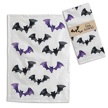 Black and Purple Bats Tea Towel - Box of 4
