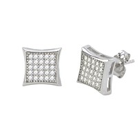 Sterling Silver Micropave Stud Earrings Kite Shaped Clear CZ 9mm x 9mm