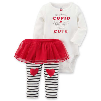 """carter's® 2-Piece """"Who Needs Cupid"""" Bodysuit and Tutu Pant Set in Red"""
