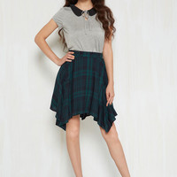 Get Your Foot in the Dorm Skirt in Navy Plaid | Mod Retro Vintage Skirts | ModCloth.com