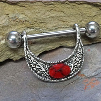 Red Turquoise Tribal Nipple Ring