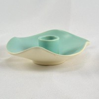 California Pottery Candlestick Holder - Turquoise White - 224 - Vintage Mid Century Modern Style