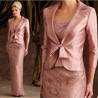 fashion Mother of the Bride Dresses with jacket  2016 3/4 sleeves backless lace evening gown for wedding party robe de soiree