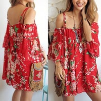 Summer Women Sexy Batwing Sleeve Floral Chiffon Beach Evening Party Short Dress (Size: One Size, Color: Red) = 1945884164