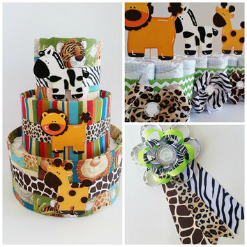 Safari Baby Shower Decor, Jungle Themed Diaper Cake, Safari Mommy to Be Corsage, Baby Shower Table Centerpieces, Jungle Mini Diaper Cakes