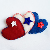 Wool felt heart ornaments  with star button set of 3 red white blue colours of American flag 4 of July decor Christmas ornament home decor