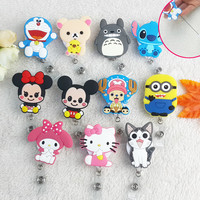 1pcs Kawaii Cute Cartoon Animals Retractable Badge Reel Student Nurse Exihibiton ID Name Card Badge Holder Office Supplies