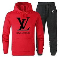 Louis Vuitton LV Women Men Lover Top Sweater Pants Trousers Set Two-Piece Red