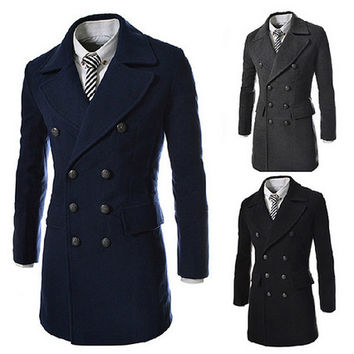 Double Breasted Men Slim Fashion Wool Coat