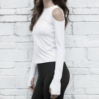Long Sleeves Thumb Holes Off Shoulder Running Top