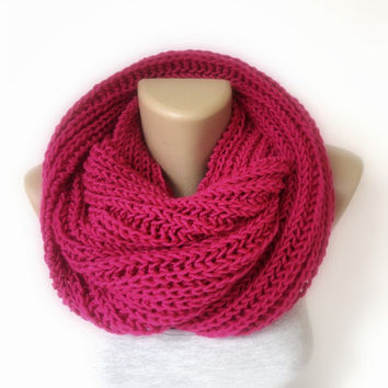 neon pink infinity scarf, women scarves,men scarf,knitting scarf ,winter accessories, outfits