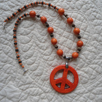 Large Orange Turquoise Peace Sign Necklace Choker with Round Turquoise Beaded Necklace Hippie Necklace Bohemian Necklace Southwest Necklace