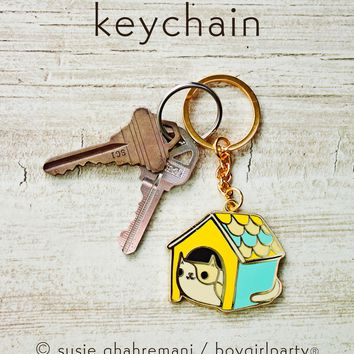 Cat House Keychain by boygirlparty -- Gold Hard Enamel Cat Key Chain