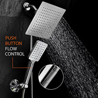"""DreamSpa Ultra-Luxury 9"""" Rainfall Shower Head / Handheld Combo. Convenient Push-Button Flow Control Button for easy one-handed operation. Switch flow settings with the same hand! Premium Chrome"""