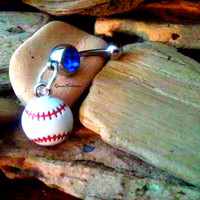 Baseball Belly Ring, Body Jewelry, BellyRing Piercing, Summer Sports, Athletic, Athlete,Belly button,Navel, Beach,Sports Lover,Ready to Ship