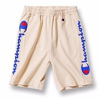 Champion New fashion letter print couple shorts Khaki
