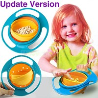Sale Baby Kid Boy Girl Gyro Feeding Toy Bowl Dishes Non Spill Universal 360 Rotate Technology Funny Gif Promotion