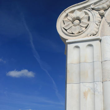 Photograph of Classical Architecture and Blue Sky, White Ionic Marble Column Photograph, Classical Wall Art, Blue Sky and Clouds.