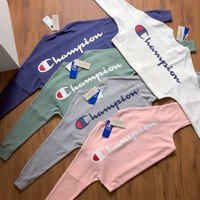 Champion Back Print Loose Sweatshirt Oversize